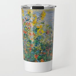 1881-Claude Monet-Flower Beds at Vétheuil-73 x 92 Travel Mug