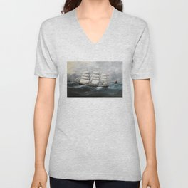 Vintage British Frigate Sailboat Painting (1881) Unisex V-Neck