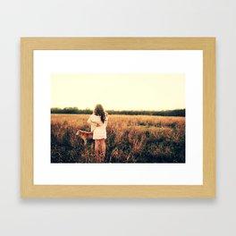 Girl and Dog Wish Framed Art Print