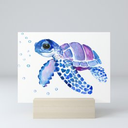 Blue Purple Sea Turtle, Turtle for nursery Mini Art Print