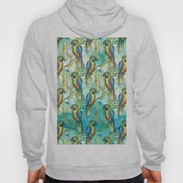Watercolor blue yellow tropical parrot bird floral Hoody