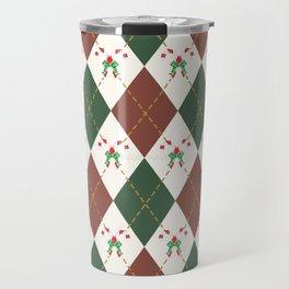 Christmas Sweater Pattern Candy cane Travel Mug
