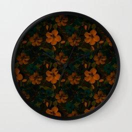 Floral Pattern - Golden Wall Clock