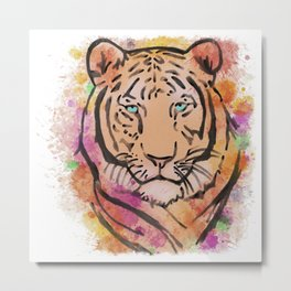 Watercolour Colourful Tiger  Metal Print