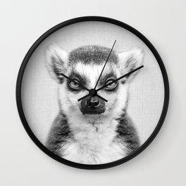 Lemur 2 - Black & White Wall Clock