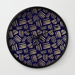 Chic navy blue faux gold abstract brushstrokes Wall Clock