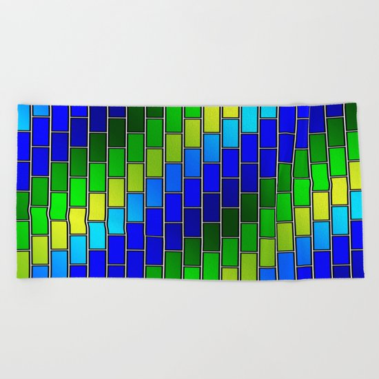 BRICK WALL #2 (Blues, Greens & Yellows) Beach Towel