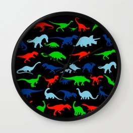 vector set silhouettes of dinosaur Wall Clock