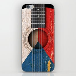 Old Vintage Acoustic Guitar with Czech Flag iPhone Skin