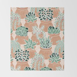 Succulent's Tiny Pots Throw Blanket