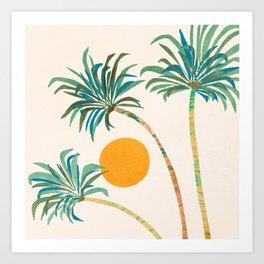 Summer Sunset Palms Art Print