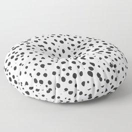 Dalmatian Spots - Black and White Polka Dots Floor Pillow