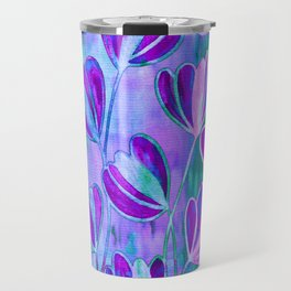 EFFLORESCENCE Lavender Purple Blue Colorful Floral Watercolor Painting Summer Garden Flowers Pattern Travel Mug