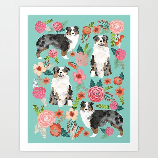 Australian Shepherd owners dog breed cute herding dogs aussie dogs animal pet portrait dog art Art Print