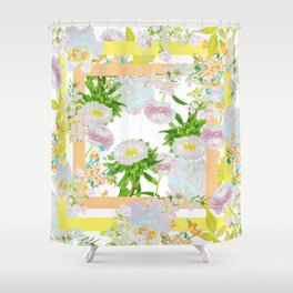 Floral Frame Collage Shower Curtain