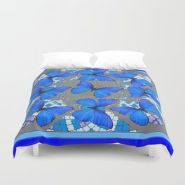 Decorative Blue Shades Butterfly Grey Pattern Art Duvet Cover