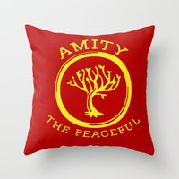 divergent Throw Pillows featuring Divergent - Amity The Peaceful by Lunil