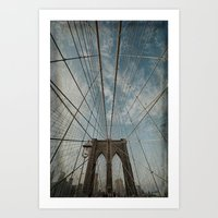 brooklyn bridge Art Prints featuring Brooklyn Bridge by Jean-Pierre Ducondi