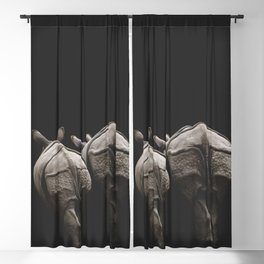 Together Forever | Rhino Couple | Rhinoceros | Vintage Art Blackout Curtain