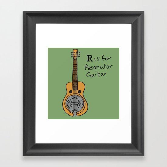 R is for Resonator Guitar Framed Art Print