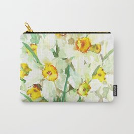 Daffodil Flowers, White spring flowers, Green yellow spring colored design Carry-All Pouch