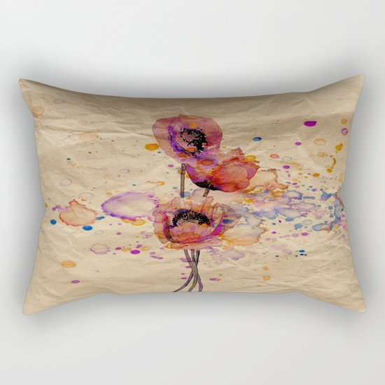 Poppies - abstract watercolor drawing Rectangular Pillow