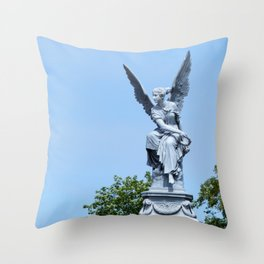 Angel and blue skies Throw Pillow