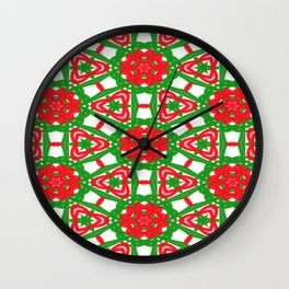 Red, Green and White Kaleidoscope 3372 Wall Clock