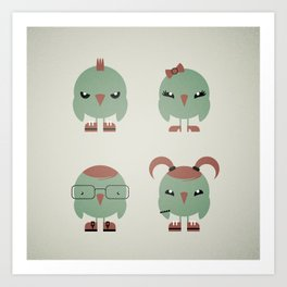 Four Feathered Friends Art Print