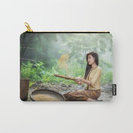 Asian Woman Sowing Rice Carry-All Pouch