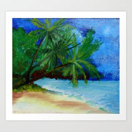 Hawaii Tropical Summer Beach Scenery Painting Art Print