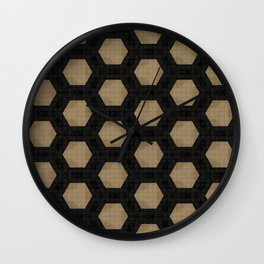 Textured Tan and Black Marble Geo Patterns Wall Clock
