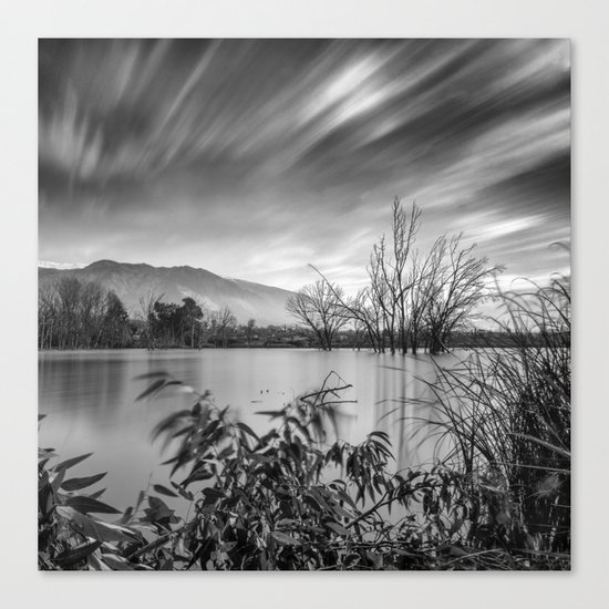 """""""Windy Clouds"""". At the lake. BW Canvas Print"""