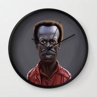 miles davis Wall Clocks featuring Celebrity Sunday ~ Miles Dewey Davis by rob art   illustration