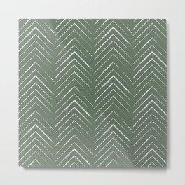 Olive Green Geometric Arrows Metal Print