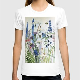Wildflower in Garden Watercolor Flower Illustration Painting T-Shirt