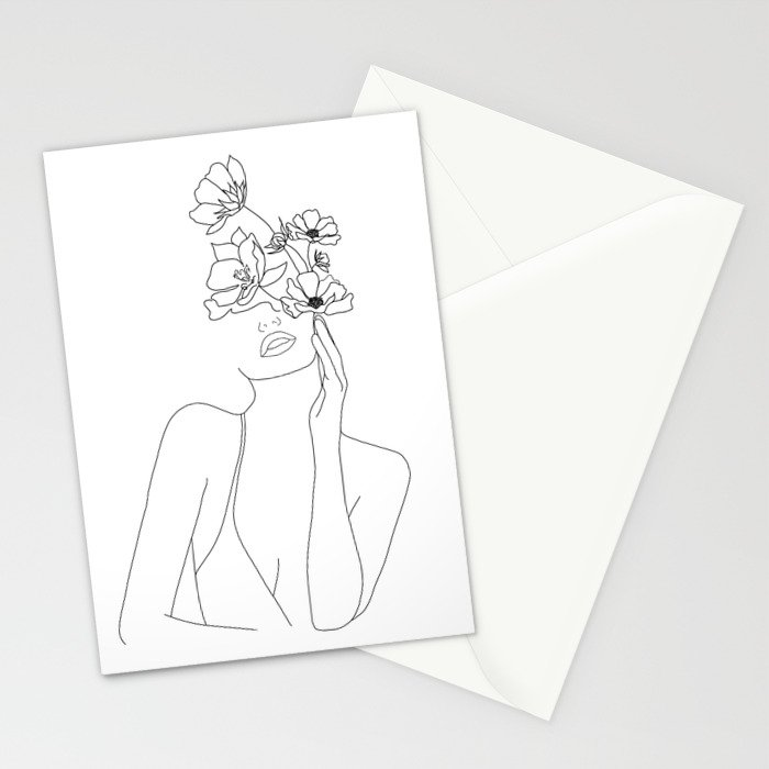 Minimal Line Art Woman with Flowers Stationery Cards