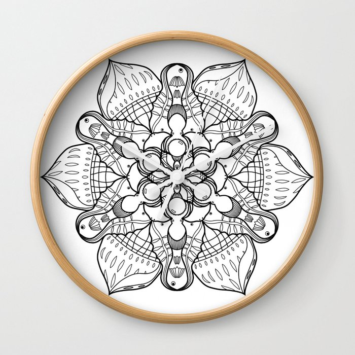 Symmetrical Sea, Lineart Only Wall Clock