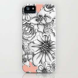 B&W Flowers Coral iPhone Case