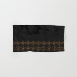 Black Marble with Bronze DecalPattern Hand & Bath Towel
