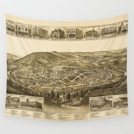 Aerial View of Harriman, Tennessee (1892) Wall Tapestry