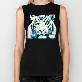 white tiger, pop art style portrait Biker Tank