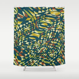Tropical Color in blue 1950 Shower Curtain