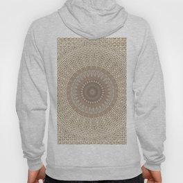 Unique Texture Taupe Burlap Mandala Design Hoody