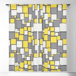 Funky Mosaic Square Pattern Pantone 2021 Color Of The Year Illuminating and Ultimate Gray Blackout Curtain