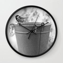 Songbird (Great Tit) on Autumn Day Black and White #decor #society6 #buyart Wall Clock