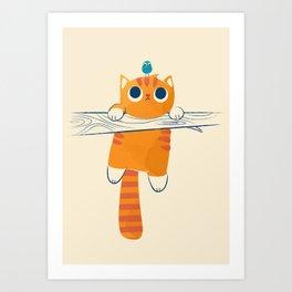 Fat cat, little bird Art Print