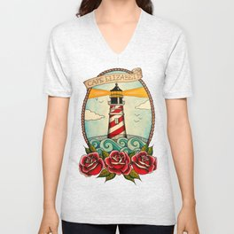 American Traditional Lighthouse Unisex V-Neck