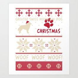 Greater Swiss Mountain Dog christmas gift t-shirt for dog lovers. Art Print