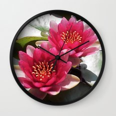 Pink Water Lily Duo Wall Clock